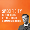 tree: the middleman; text: specificity is the soul of all good communication ([middleman] specificity)