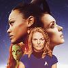 where_no_woman: nyota uhura, amanda grayson, winona kirk, and gaila. (where no woman)
