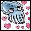 dorothean: a really cute cuttlefish, surrounded by cartoon hearts! (cuttlefish <3)