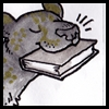 somethingfeline: Illistration of a black jaguar happily holding a book in her mouth (Default)