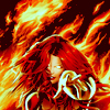 apollymi: Jean Grey as the Phoenix, surrounded in flames and smirking, no text (XMen**Phoenix: The bitch is back)