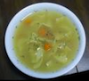 jesse_the_k: White bowl of homemade chicken soup, hold the noodles (JK's chicken soup)