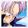"apollymi: Future Trunks looking down and blushing, text reads ""blush"" (DBZ**Trunks: BLUSH!!!)"