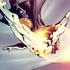 keelover: Authority members Apollo and Midnighter flying, Midnighter held along Apollo's back. (Apollo/Midnighter)