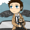 ext_161812: Cas holding Dean plushie and sitting on Impala (Cas)