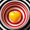 kouredios: yellow heart in a striped bowl (Heart)