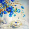 pensnest: elegant teacup with vase of beautiful blue flowers (cuppa with flowers)