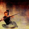 snottygrrl: hawkeye sliding during battle (arthur smiling)