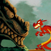 anaraine: Mushu hunched over and growling at the face of the Great Stone Dragon. ([disney] grr face)