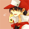 pokemon_champ_red: Red smiling and seemingly laughing with Pikachu on his shoulder (happy)