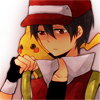pokemon_champ_red: Red looking down sadly with Pikachu on his shoulder. (Sad)