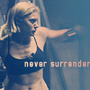 phoenix64: Starbuck with text: Never Surrender (bsg starbuck never surrender)