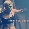 phoenix64: Starbuck with text: Never Surrender (bsg starbuck never surrender)