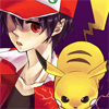 pokemon_champ_red: Pikachu looking ready to fight on Red's shoulder (Pikachu ready to fight)