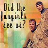 zelliehstories: Kirk and Spock peering out from behind a rock; text reads: 'Did the fangirls see us?' (Star Trek TOS Spock Kirk Did the fangirl)
