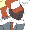 pokemon_champ_red: Red with his head buried in his arms and Pikachu behind him. (crying or sleeping)