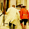 cadenzamuse: back shots of Fraser and Ray walking up some stairs (due south)