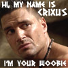 "hradzka: Crixus, from SPARTACUS: BLOOD AND SAND, labeled ""Hello, my name is Crixus. I'm your woobie."" (crixus woobie)"