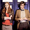 firefly124: eleventh doctor and amy leaning against tardis (eleven and amy by griggharris)