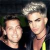 pensnest: Lance Bass grinning with silver-haired Adam Lambert (Lance and Adam)