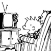 calvinahobbes: Calvin and Hobbes watching tv (calvintv)