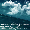 "lovepeaceohana: A tilted artist's rendition of a clear blue ocean with sky and clouds above; text reads ""now bring me that horizon..."" (bookmark)"