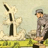 eruthros: A panel from a 1950s educational comic book showing a communist deflating -- I mean, blowing up, the Washington Monument (Communists!)