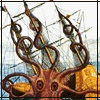 red_eft: An octopus-like creature engulfs a ship (drink and the devil)