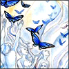 forestofglory: Blue butterflies in front of pale white people with long flowing hair (blue magic)
