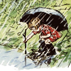 forestofglory: E. H. Shepard drawing of Christopher Robin with an umbrella and wellies  (rain)