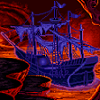 frandroid: Pirate ghostship, moored in a lava creek, underground. (ghostship)