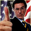 frandroid: Stephen Colbert giving a thumbs up in from of the American Flag (united states, Colbert)