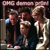 "frandroid: ""OMG demon pr0n!"", with some Buffy cast members staring at a screen (pr0n)"