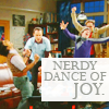 "strina: big bang theory boys caption ""nerdy dance of joy"" (bb - nerdy dance of joy)"