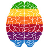 chairman_wow: a stylised brain in rainbow coloured stripes (rainbow brain)