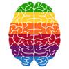 chairman_wow: a stylised brain in rainbow coloured stripes (rainbow brain)