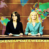 yourlongshadows: Tina Fey and Amy Poehler host the SNL news. (Bitches get shit done)
