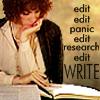 tree_and_leaf: Harriet Vane writing, caption edit edit panic edit research edite WRITE. (writing)