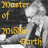 tree_and_leaf: JRR Tolkien at desk, smoking pipe, caption Master of Middle Earth (tolkien)