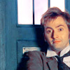 tree_and_leaf: Ten slumped against the TARDIS, tie askew, smiling slightly (Tenth Doctor)