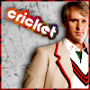 "tree_and_leaf: Peter Davison in cricket gear as Five, caption ""Cricket"" (cricket)"