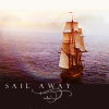"tree_and_leaf: HMS Surprise sailing away over calm sea, caption ""Sail away"" (Sail away)"