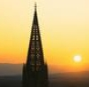 tree_and_leaf: Photo of spire of Freiburg Minster (14th C broached gothic) silhouetted against sunset. (Schönste Turm)