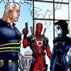 apocalypse_never: Cable, Deadpool, and Domino. Deadpool's holding a gun, and a window's shattered behind him. (...triangle)