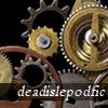 deadislepodfic: comm name 'deadislepodfic' superimposed over precious metal gears and wheels (deadislepodfic)