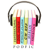 letsgofriday: Stack of books with headphones around them (podfic: podfic love)