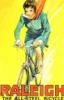 zingerella: Vintage Raleigh bicycles ad featuring a brunette woman riding a bicycle downhill fast, her scarf streaming out behind. (Cycle hoyden)