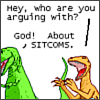 walkingshadow: t-rex argues with god about sitcoms (THANKS TELEVISION INDUSTRY)