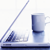 bedlamsbard: miscellaneous: cup of tea on a laptop (girlyb_icons) (tea and laptop (girlyb_icons))