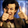 lannamichaels: Matt Smith holds two thumbs up, before heading into Certain Danger. Cap from season 5 promo trailers. (two thumbs up)